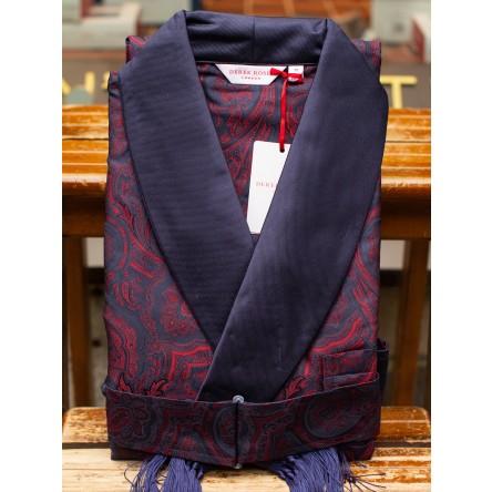 Derek Rose Dressing Gown Paisley Jacquard Silk Navy