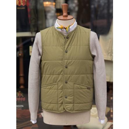 Lavenham Jersey Lined Dry Wax Cotton Vest Olive