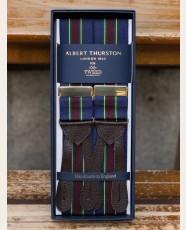 Albert Thurston Striped Barathea Braces Navy Wine Green