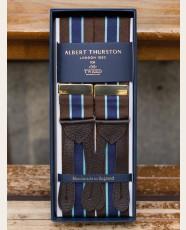 Albert Thurston Striped Barathea Braces Brown Navy Sky