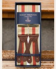 Albert Thurston Striped Barathea Braces Rust Khaki