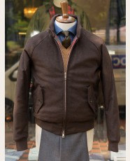 Baracuta G9 Melton Wool Harrington Jacket Chocolate