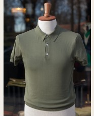 Baracuta Short Sleeve Knit Cotton Polo Shirt Army