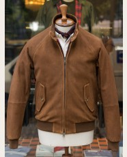 Baracuta G9 Heavy Suede Harrington Jacket Tobacco