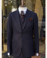 Bladen Chalk Stripe Fox Flannel 3-piece Suit Navy