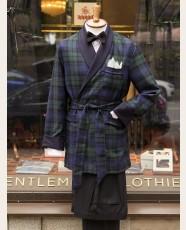 Derek Rose Black Watch Wool Smoking Jacket