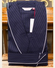 Derek Rose Dressing Gown Striped Pin Dot Satin Navy