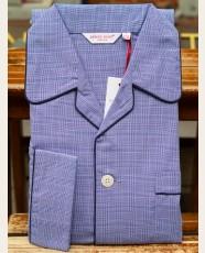 Derek Rose Classic Fit Piped Glencheck Pyjama Blue