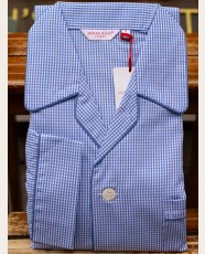 Derek Rose Piped Pyjama Gingham Check Blue