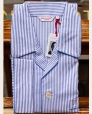 Derek Rose Piped Pyjama Bengal Stripe Blue
