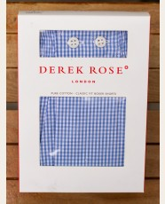 Derek Rose Classic Fit Boxer Shorts Gingham Check Blue