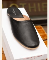 Derek Rose Open-Back Slippers Black