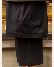 Bladen Black Serge Pleated Dinner Trousers