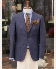 Drakes Navy Glencheck Linen Blend Jacket