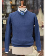 Cotton Linen Knitted Sweatshirt Blue