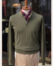 Baracuta Long Sleeve Knit Cotton Polo Shirt Army Green