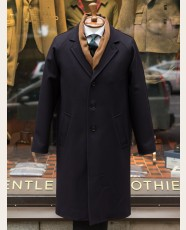 Gloverall Raglan Chesterfield Coat Navy