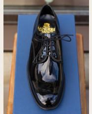 Sanders Plain Toe Derby Black Patent Leather Shoes