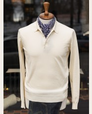 Baracuta Long Sleeve Knit Cotton Polo Shirt Ivory