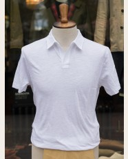 Sunspel Cotton Linen Buttonless Polo White