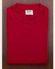 William Lockie Slim Lambswool Single Crew Carmine