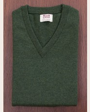 William Lockie Slim Lambswool Vee-neck Rosemary