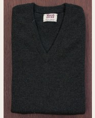 William Lockie Slim Lambswool Vee-neck Seaweed