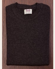 William Lockie Slim Lambswool Single Crew Cocoa