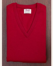 William Lockie Slim Lambswool Vee-neck Carmine