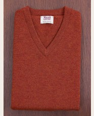 William Lockie Slim Lambswool Vee-neck Tiger