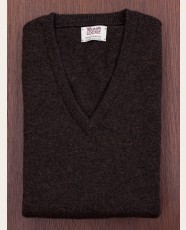William Lockie Slim Lambswool Vee-neck Cocoa