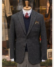 Bladen Gunton Patch Pockets Harris Tweed Jacket Navy Check