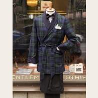 Derek Rose Black Watch Wool Smoking Jacket S