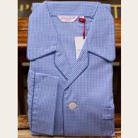 Derek Rose Piped Pyjama Gingham Check Blue