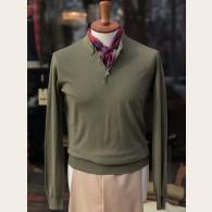 Baracuta Long Sleeve Knit Cotton Polo Shirt Army XX-Large