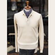 Baracuta Long Sleeve Knit Cotton Polo Shirt Ivory XX-Large