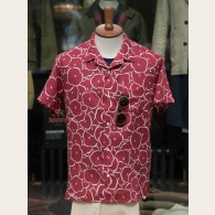 Derek Rose Floral Linen Short Sleeve Shirt Red