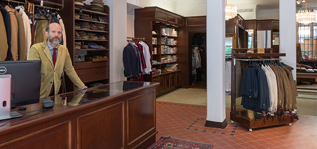 Stockholm tweed shop interior